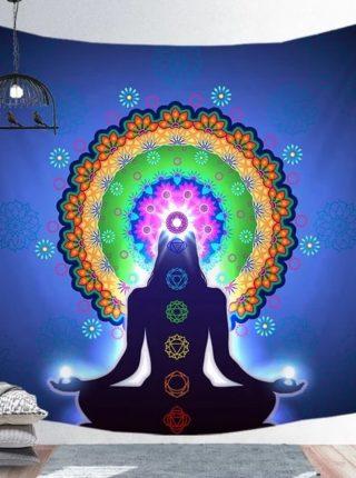 Vægtæppe med yoga og chakra farver