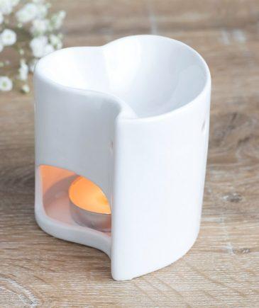 aromalampe-hvid hjerte-keramik-pilos - pilos spirituelle univers