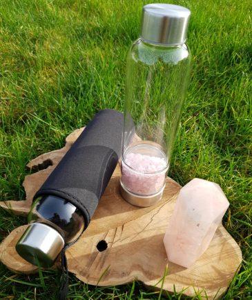 Glasflaske med rosakvarts
