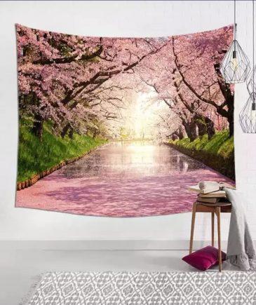 Vægtæppe med lyserød skov